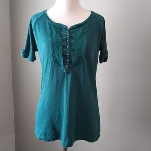 Eddie Bauer Ladies Small Short Sleeved Shirt Lace